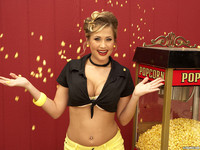 Alanah Rae Playful With Popcorn